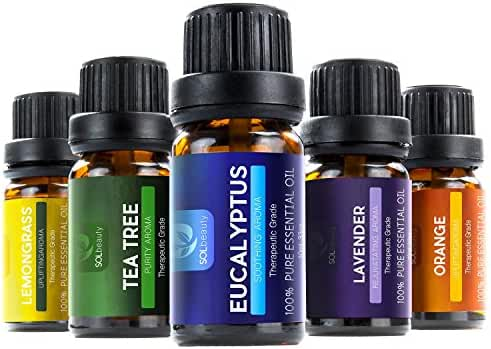 Sol Beauty® Top 6 Essential Oils - Set of 6 100% Pure Therapeutic Grade Aromatherapy Oils - Includes: Tea Tree, Lavender, Peppermint, Eucalyptus, Lemongrass, Orange