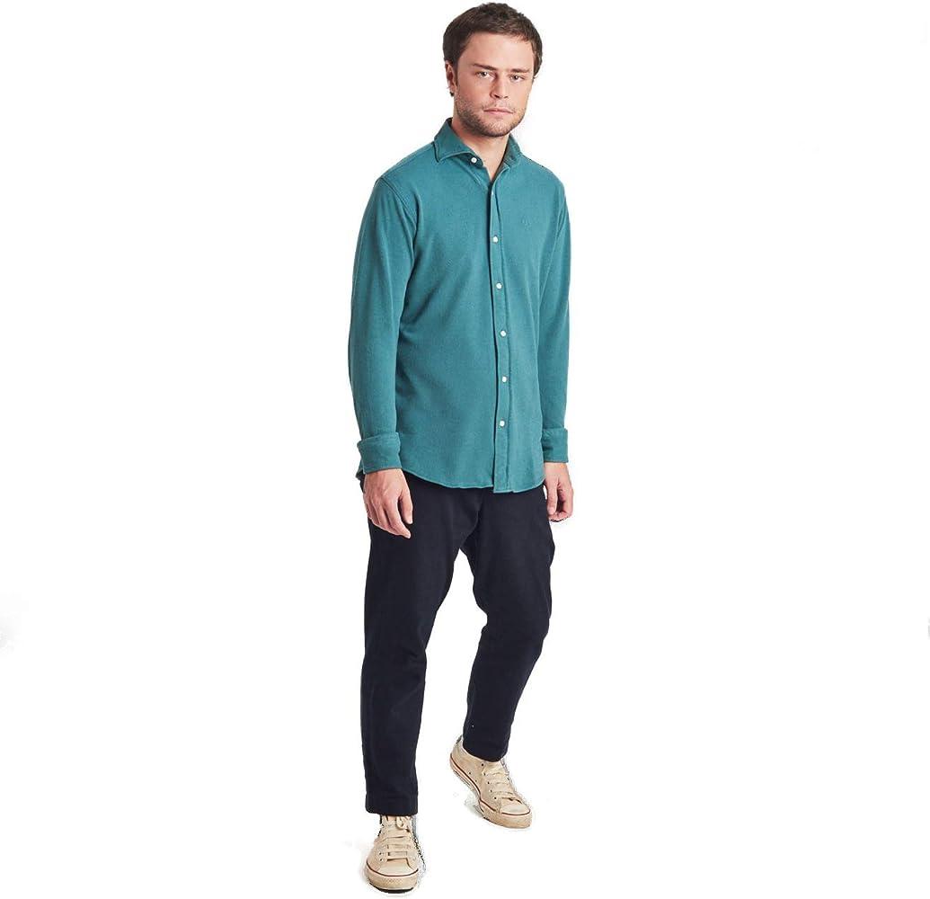 HOOK Camisa Polera Manga Larga para Hombre Color Liso Verde Oscuro - Tejido Polo Piqué Cuello Italiano - 100% Algodón Regular Fit - 3094: Amazon.es: Ropa y accesorios