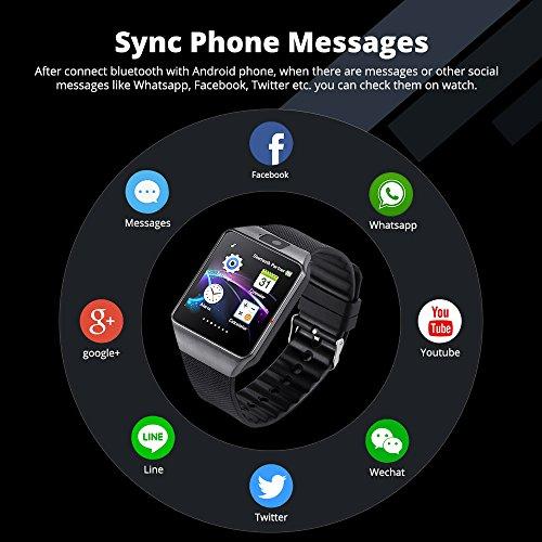 DZ09 Bluetooth Smart Watch - WJPILIS Smart Wrist Watch Smartwatch Phone  Fitness Tracker SIM Card Slot Camera Pedometer Compatible iOS iPhone  Android