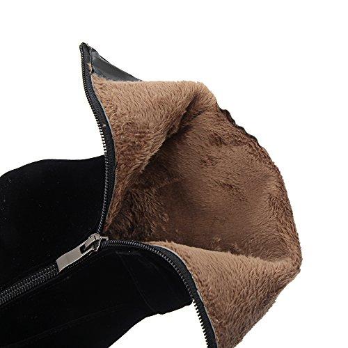 Enmayer Dames Elegante Hangers Mode Ronde Neus Met Hoge Hakken Zwart