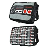 Nintendo Allover Reversible Flap Messenger Bag, Grey/Black, One Size