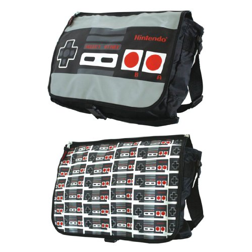 Nintendo Allover Reversible Flap Messenger Bag, Grey/Black, One Size ()