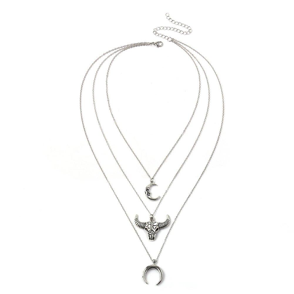 angel3292 Retro Ox Head Crescent Moon Pendant Women Multi-Layer Choker Necklace Jewelry