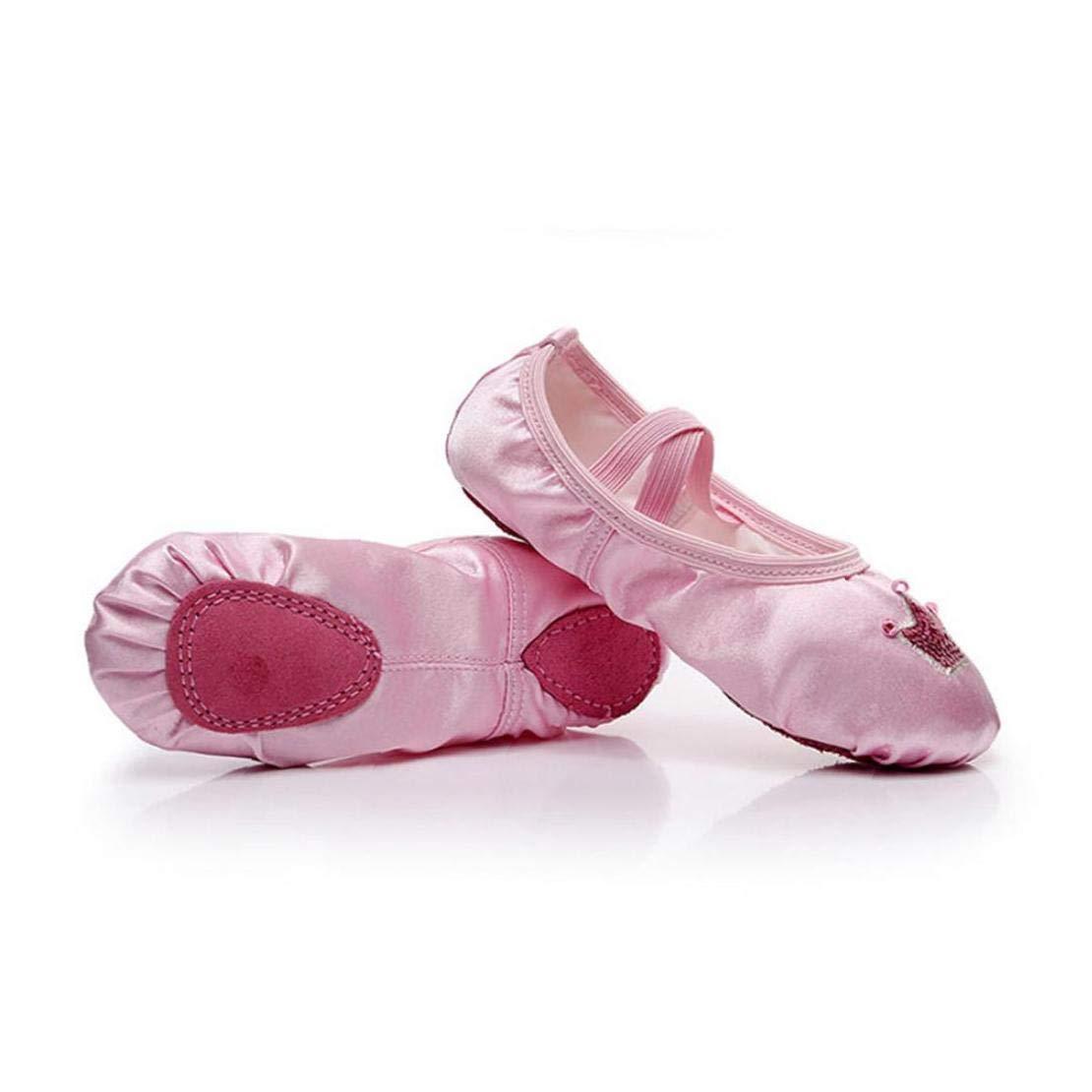 size 25 1 pair pink satin ballet shoes Yoga Wear resistant canvas split belly dancing shoes Gymnastics Sole Flat Shoes for little girls