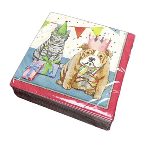 Festive Cat & Dog Dressed in Party Attire Pack of 40 Party Beverage Lunch Cocktail Paper Napkins (Bulldog & -