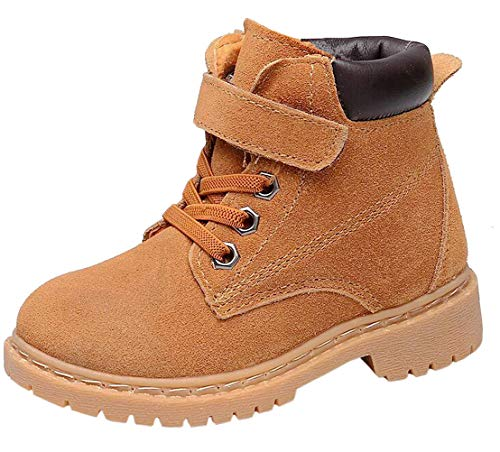 (DADAWEN Boy's Girl's Classic Waterproof Leather Outdoor Strap Winter Boots (Toddler/Little Kid/Big Kid) Yellow US Size 10 M Toddler)