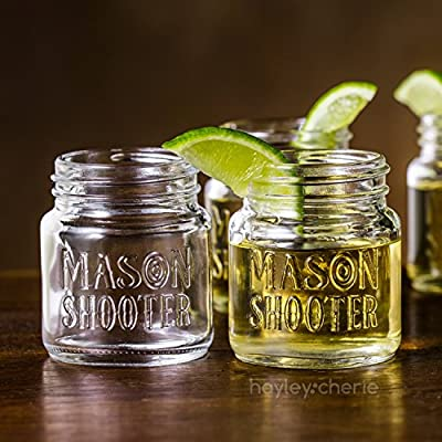Hayley Cherie - Mason Jar Shot Glasses with Lids (Set of 8) – Mini Mason Shooter Glass - 2 Ounces