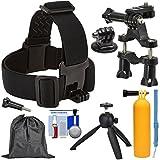 Sunpak Action Camera Head Strap Mount with Bike Handlebar Mount + Buoy Hand Grip + Wrist Strap + Tripod + Adapter + Pouch + Kit