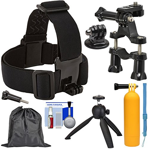 Sunpak Action Camera Head Strap Mount with Bike Handlebar Mount + Buoy Hand Grip + Wrist Strap + Tripod + Adapter + Pouch + Kit by Unknown