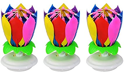 Jinbaishop 3PCS Music Birthday Candle Musical Lotus Rotating Happy Flower Colorful Rainbow Double Layer