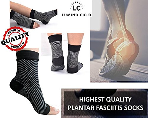 Lumino Cielo All-Day Compression Socks for Plantar Fasciitis Pain relief Ankle Support (can replace night Splint for morning pain relief) - sleeve style - 1 PAIR (L/XL, Black) (B01N2UM5XR) Amazon Price History, Amazon Price Tracker