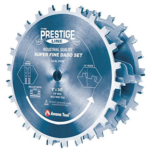 Amana Tool - 658060C Carbide Tipped Electro-BLU Prestige Dado 8'' Dia x 24T H-ATB, 5/8 by Amana Tool