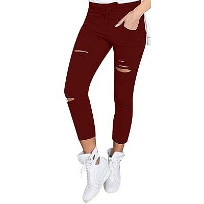 09b03a91d46b6 Battercake Jeans pour Femmes Taille Haute Stretch Trou Crayon Trou Déchiré  Pantalon Moderne Casual Dame avec