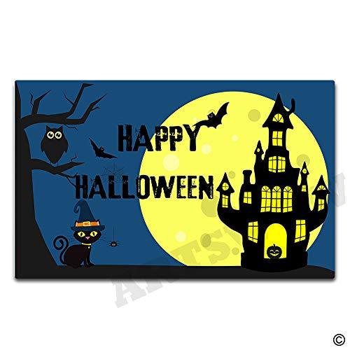 Artswow Happy Halloween Owl Castle Doormat Funny Doormat