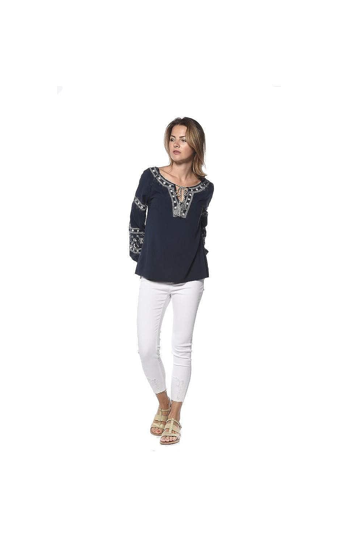 2f350b4e DeeLuxe Camisas - Cuello Redondo - Para Mujer Azul Marino M: Amazon.es:  Ropa y accesorios