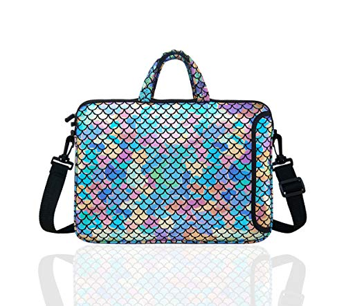 "10.5-Inch Laptop Ipad Shoulder Carrying Bag Case Sleeve for 9.6"" 9.7"" 10"" 10.1"" 10.5"" Ipad/Netbook/Tablet/Reader, Mermaid Scale (Colorful)"