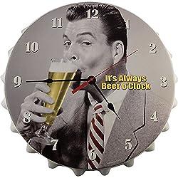 KegWorks Pub Clock It's Always Beer O'Clock Metal Bottle Cap Wall Clock