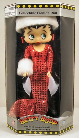 Betty Boop Collectible Doll - Red Dress, White Fur Hat with Fur Muff Style by Precious ()