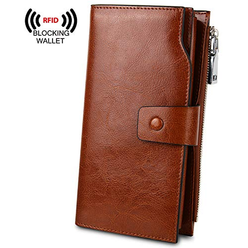 YALUXE Women's Genuine Leather RFID Blocking Large Capacity Luxury Clutch Wallet Card Holder Organizer Ladies Purse Wallets for women double brown