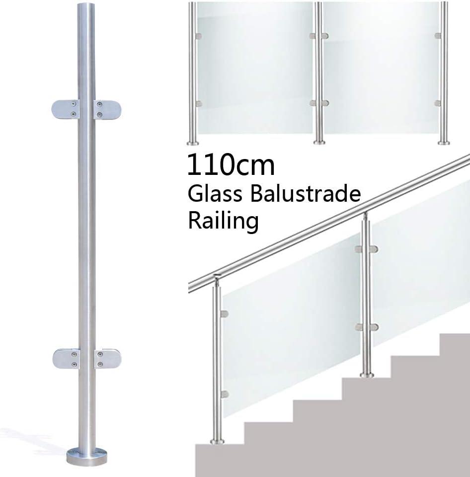 110 cm de acero inoxidable 316 cristal Balustraden barandilla poste para terrazas jardín interior escaleras piscina escalera planchas (columna central (sin asiento superior): Amazon.es: Bricolaje y herramientas