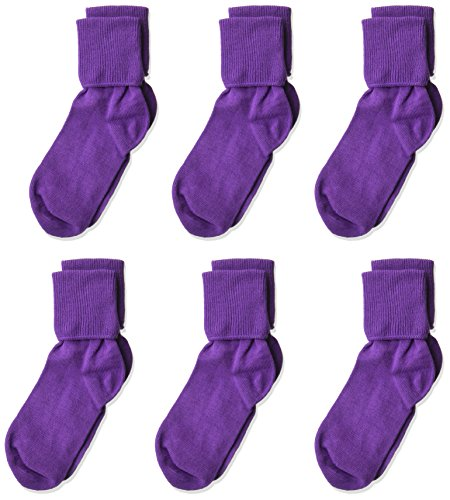 (Jefferies Socks Little Girls'  Seamless Turn Cuff  Socks (Pack of 6), Purple, Medium)