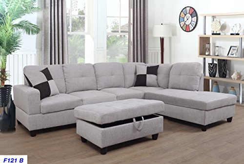 Lifestyle Furniture Right Facing 3PC Sectional Sofa Set,Flannelette,Grey White(LSF121B) (Sectional Facing Chaise Right)