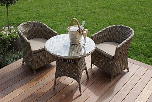 Aston Rattan Gartenmöbel, 2 Personen, runder Tisch Bistro Set