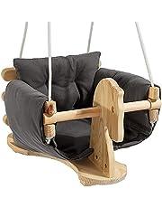 ارجوحة بشكل كرسي للاطفال قابل للتعليق بتصميم على شكل حصان خشبي من ميلان، مع وسادة قماشية رمادية قابلة للازالة للاماكن المغلقة وفي الهواء الطلق للاطفال الرضع والاطفال الصغار من سن 6 الى 36 شهرا