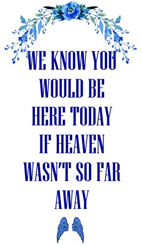 Global Huntress Wedding Memorial Service Church Home Inspirational Backdrop Signage complete with Photo Pocket Polyester Knitted Fabric Pennant Banner We Know You Would Be Here Today Quote Sign. -