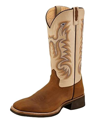 3d86812d713 Image Unavailable. Image not available for. Color  Old West Men s Leather  Broad Square Toe Cowboy Boots - Light Brown Oyster Crystal