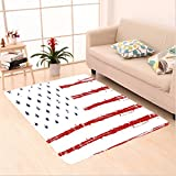 Nalahome Custom carpet can Vector Grunge Texture Flag of United States of America Illustration Print Blue White and Red area rugs for Living Dining Room Bedroom Hallway Office Carpet (6.5' X 10')