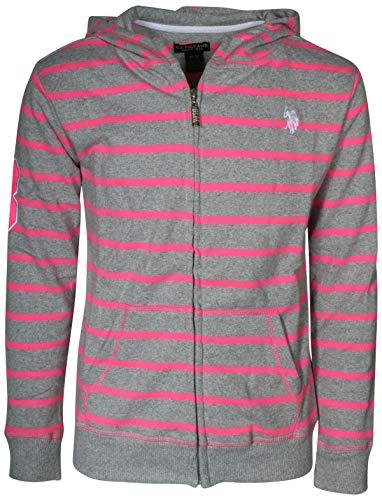 (U.S. Polo Assn. Girl's French Terry Zip-Up Hoodie Sweatshirt, Heather Grey, Size 4')