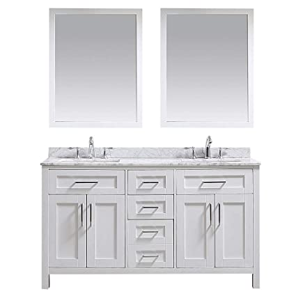 info for d4c20 5ea49 Ove Decors White Maya 60 Double Vanity with Marble Top, Backsplash and Two  Mirrors, 60 inches