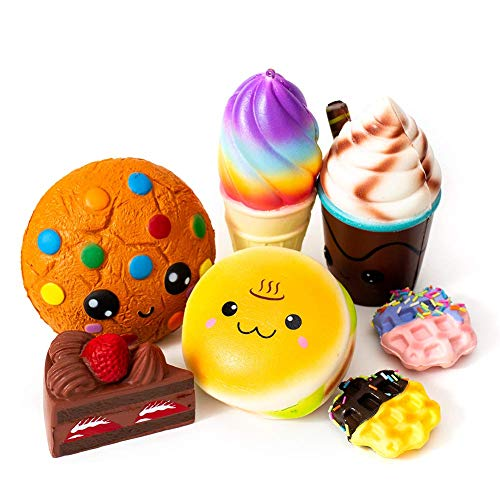 SYYISA Jumbo Squishies Slow Rising [7-Pack]: Cake, Ice Cream, Bread, Chocolate Cookie, Chocolate Frappuccino, and Waffles Kawaii Soft Food Squishy Toys - Squishys are Great Sensory Toys for -