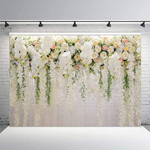 Cdcurtain Bridal Floral Wall Backdrop Wedding 3D Rose 10x8ft Reception Ceremony Photography Background Photo Birthday Party Dessert Table Photo Shoot Backdrop Blush Vinyl Cloth by Cdcurtain (Image #1)