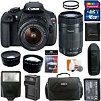 Canon EOS Rebel T5 Digital Camera SLR Kit With Canon EF-S 18-55mm IS II+Canon EF-S 55-250mm f/4.0-5.6 IS STM Telephoto Zoom Lens + 16GB Card and Reader + Wide angle and Telephoto Lenses + Battery + Filters + Accessory Kit Explained Review Image