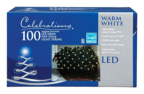 Celebrations 40805-71 Led Net Lights, 4' L X 6' W, 100 Warm White Lights (Spacing Green Wire Lights 4')