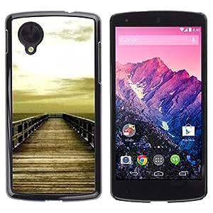 Exotic-Star ( Golden Brown Dock Sea Sun Summer ) Fundas Cover Cubre Hard Case Cover para LG Google NEXUS 5 / E980 /D820 / D821