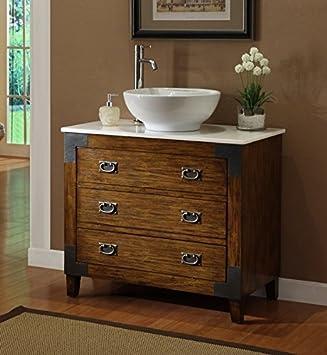 36u201d Asian Inspired All Wood Construction Akira Vessel Sink Bathroom Vanity  CF35535