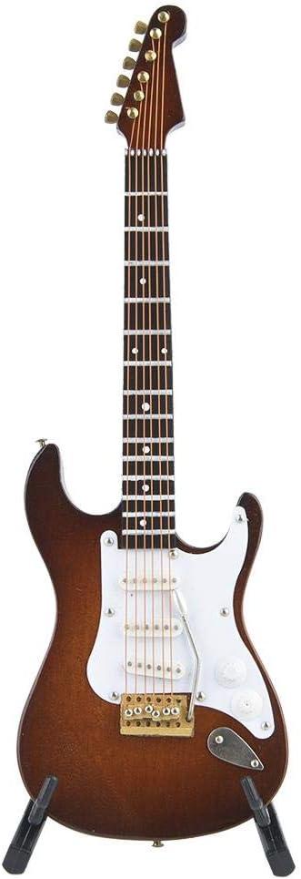 HEEPDD Miniatura de Guitarra eléctrica, Juguete de Madera de 4 Colores Gran Modelo de Guitarra eléctrica Juguete de Instrumento Musical Gran Regalo para niños niñas niños(café con Leche)