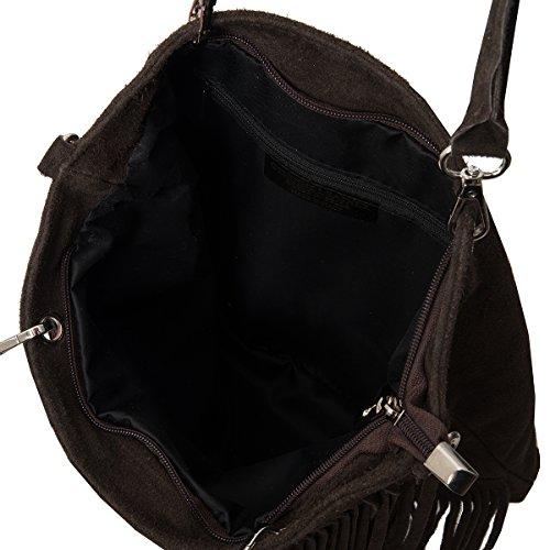avec fonce real de sac frange suede cuir Daim XXL shopper Italie 2033 Marron mod 1OzIqU