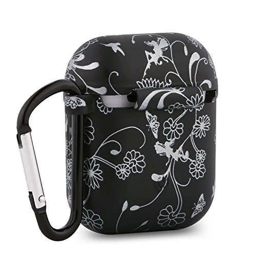 for Apple Airpods Cover case with Keychain,Silicone Protective Cover Case with Metal Keychain for Airpods(Black and White Flowers)