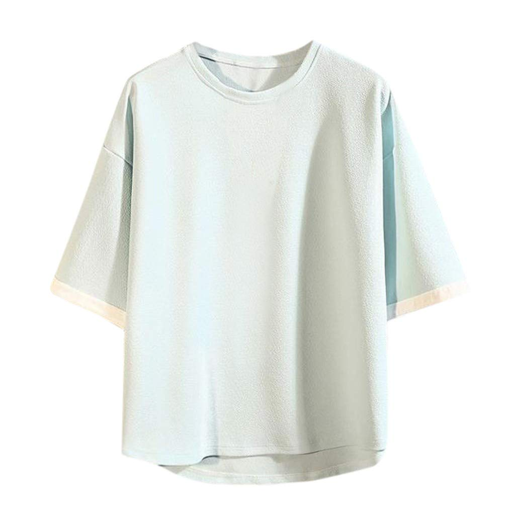 JIUDASG Mens Casual Large Size Blouse Loose Short Sleeve O-Neck T-Shirts Light Blue