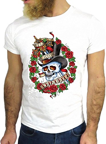 T SHIRT JODE Z3354 TATTOO SKULL COOL ROSE VINTAGE SAILOR COOL TATUAGGIO HIPSTER GGG24 BIANCA - WHITE S