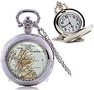 QUVLOTIAZJ Scotland map Pocket Watch Necklace,Scotland map Jewelry map jewellry Edinburgh map Glasgow map Scot