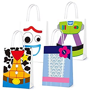 16 PCS Toy Inspired Story Decorations, Party Favor Bags for Toy Inspired Story Party Supplies- Party Favor Goody Bags for Girls Boys Adults Birthday Party Decor- 4 Patterns Double Sided Printed