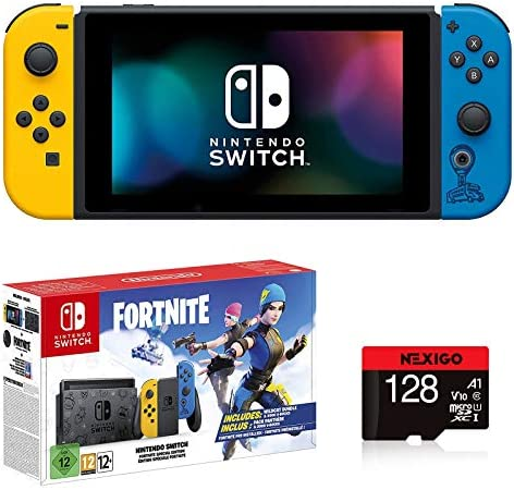 "Newest Nintendo Switch with Yellow and Blue Joy-Con (UK Version) Family Christmas Holiday Bundle - 6.2"" Touchscreen LCD Display, Built-in Speakers - Yellow and Blue + NexiGo_128GB MicroSD Card Bundle"