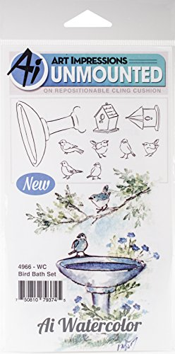 Art Impressions WC4966 Watercolor Cling Rubber Stamps, Bird -