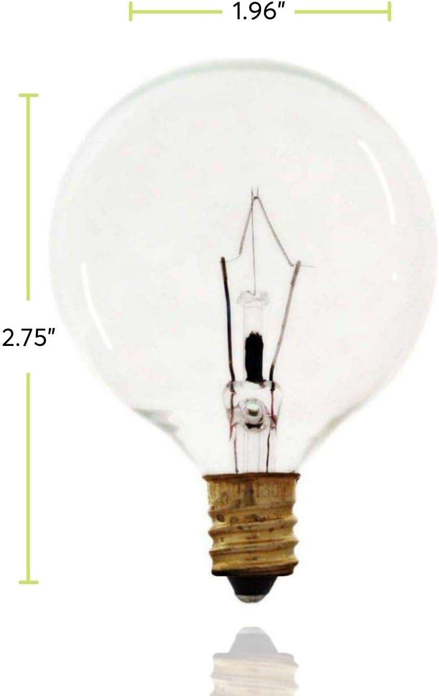 Sterl Lighting Pack Of 10 G16 5 Wax Warmer Decorative Chandelier Clear Light Bulbs Globe Incandescent 40 Watts 120 Volts E12 Candelabra Base 2700k 380 Lumens Amazon Co Uk Lighting