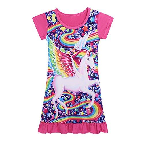 (Alvivi Girls Animal Star Rainbow Short Sleeves Pajamas PJS Costumes Nightdress Sleepwear Rose 2-3)